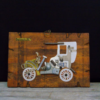 Up-Cycled Art Car Plaque Reclaimed Barn Wood Vintage Wall Hanging Folk Art 1907 Car Automobile Darracq