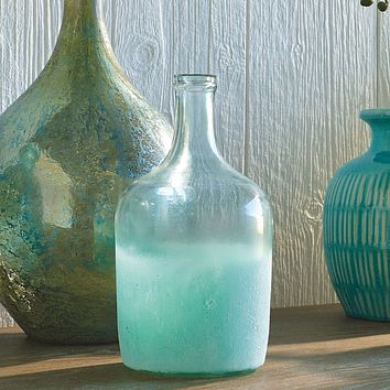 Seaside Cottage Glass Bottle Vase -- 10 in