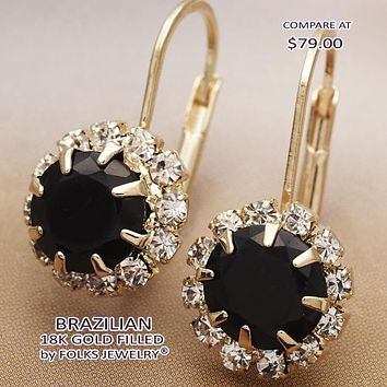 Gold Layered Women Flower Leverback Earring, with Black Cubic Zirconia, by Folks Jewelry