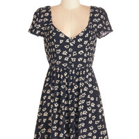 ModCloth 90s Mid-length Cap Sleeves A-line Peace of Mind Dress