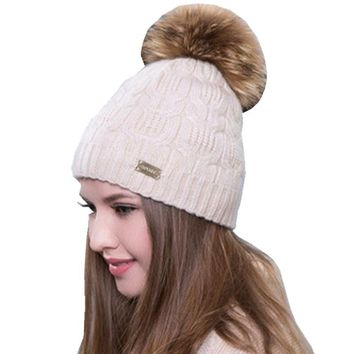 2017 Real Raccoon Fur Pompom Winter Women Hat Beanies Warm Knitted Wool Hats Female Crochet Knit Cap Double Layer Skullies Caps