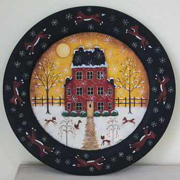 Winter Folk Art Painting Wood Plate - MADE TO ORDER - Primitive Winter Scene  Red Saltbox House, Running Foxes, Christmas Holiday decor