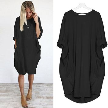 Feitong Plus Size Boho Womens Dress Ladies Casual Pocket Loose Dress Crew Neck Mini Tops Dress female vestidos verano 2018 New