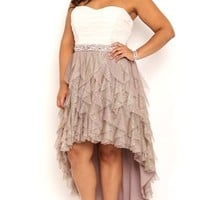 Plus Size Two Tone High Low Homecoming Dress with Tendril Skirt
