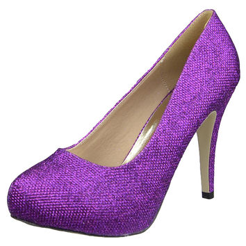 Womens Platform Shoes Glitter High Heel Sexy Stilletto Pumps Purple SZ