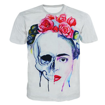 New summer Frida Kahlo half skull face print 3d t shirt brand new t-shirt punk tops tee men women plus size