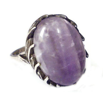 Sterling Amethyst Ring, Silver 925, Laurel Leaf Crown, Purple Lavender, Gemstone, Statement Ring, Vintage Jewelry
