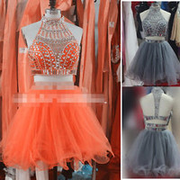 2015 Short Gray Crystal Two Pieces High Neck Prom Homecoming Dresses Party Gowns