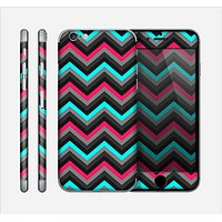 The Sharp Pink & Teal Chevron Pattern Skin for the Apple iPhone 6