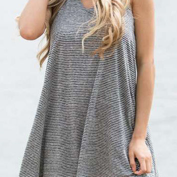 Striped Backless Sleeveless Casual Dress