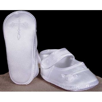 Embroidered Celtic Cross White Matte Satin Christening Shoes Baby Girls 0-9M