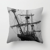 Pirate Ship Pillow, Black and White Pillow, Tall Ship Pillow, Nautical Decor, Ocean Pillow, Nautical Pillow, Beach House Pillows,16X16 18X18