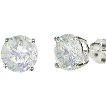 925 Sterling Silver Round CZ Stud Earrings Clear Basket Set