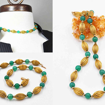 Vintage Krementz Green Chrysoprase Choker Necklace, 14K Yellow Gold Filled, Fluted Oval Beads, Beaded, Etched, Rare Beauty! #c428