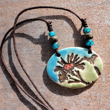 Statement Necklace, Whimsical Jewelry, Hand crafted ceramic pottery pendant with wild flower and bird