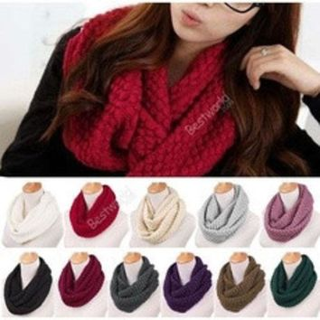 ca DCCKTM4 Unisex Women Winter Warm Infinity 2 Circle Cable Knit Cowl Neck Scarf Shawl [8919797383]