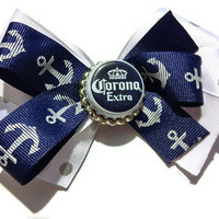 Corona Hair Bow, Corona Beer, Bar Bows, Adult Bows, Beach bows, summer fashion, anchors, nautical bows, bottle cap bows, boutique bows, blue
