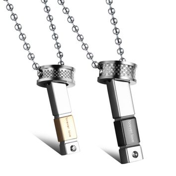 Art deco stick men and women stainless steel necklace sets