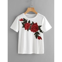 Rose Embroidered Applique Tee