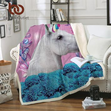 BeddingOutlet Unicorn Throw Blanket Kids Horse Sherpa Plaid Bedspread Floral Home Textiles Pink and Blue battaniye 150x200cm
