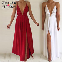 Women Sexy V Neck backless High Split Long Party Dresses 2017 Solid Bandage Straps Club Party Pleated Chiffon Maxi Dress