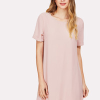 Laser Cut Rolled Up Sleeve Tunic Dress -SheIn(Sheinside)