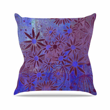 "Marianna Tankelevich ""Purple Night"" Purple Blue Outdoor Throw Pillow"