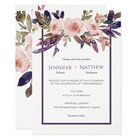 Peach Pink Lavender Watercolor Flowers Invitations