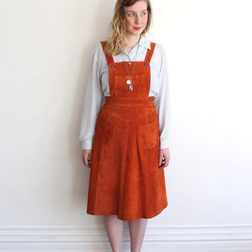 Vintage 70s Orange Suede Bib Jumper // Leather Overall Dress Small