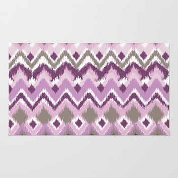 Aztec Tribal Purple iKat Inspired Pattern Design Area & Throw Rug by TRM Design