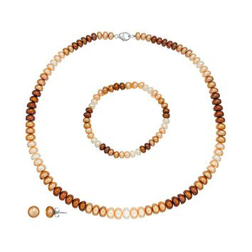 Freshwater by Honora Dyed Freshwater Cultured Pearl Sterling Silver Necklace, Bracelet & Stud Earring Set (Brown)