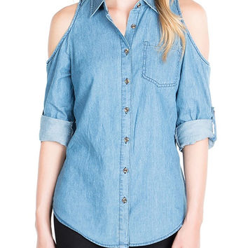 Cold-Shoulder Chambray Top-FINAL SALE