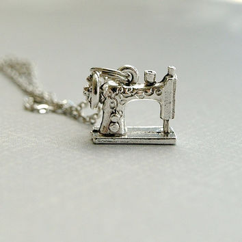 Small Sewing Machine Charm Necklace 3D old fashioned silver plated pewter charm on delicate silver plated chain