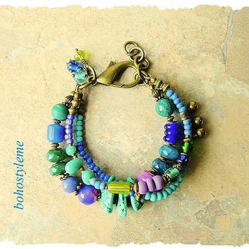 Bohemian Jewelry, Colorful Beaded Bracelet, Layered Rustic Stones and Glass, Boho Chic, bohostyleme, Kaye Kraus