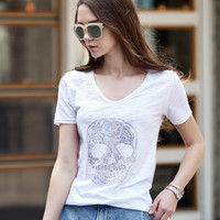 Diamond Skull Print Comfy T-Shirt