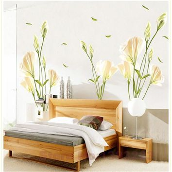 3D green lily flowers vinyl wall stickers for home decor