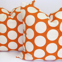 ORANGE Polka Dot Pillow Set.18x18 inch..Decorative Pillow Cover.Printed Fabric Front and Back.Sweet Potato