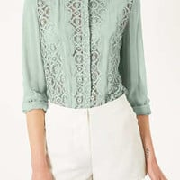 Geo Lace Rolled Sleeve Blouse - New In This Week  - New In