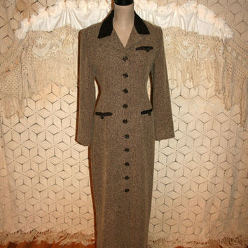 Long Sleeve Maxi Dress Brown Tweed Fall Button Up Edwardian Duster Coat Fitted Wiggle Dress Size 4 Size 6 Small Dress Women Vintage Clothing