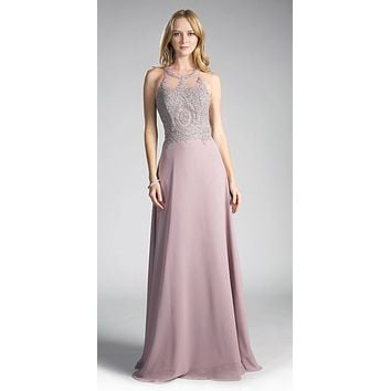 Mauve Appliqued Bodice Halter Long Formal Dress A-Line