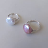 Fresh water coin pearl ring