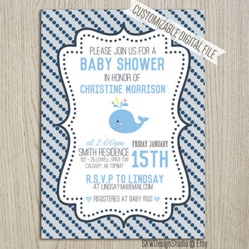 Shop nautical boy shower invites on wanelo blue wavy nautical polkadot whale invitation for baby shower i filmwisefo