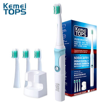 Kemei907 2015 Electric Toothbrush Ultrasonic Sonic Rotary Electric  Replacement Heads 30000/min Professional Teeth Brush