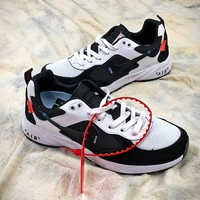 OFF WHITE x Nike Air Lcarus Extra QS Retro White Black Sport Running Shoes - Best Online Sale