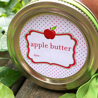 Apple Butter Canning Jar labels, 2 inch round stickers for mason jars, fruit preservation, regular or wide mouth available