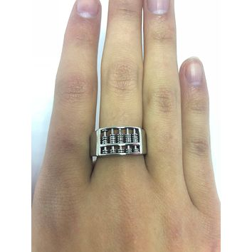 Vintage 1980's Gothic Stainless Steel Abacus Men's Ring