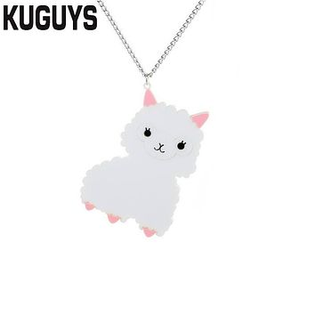 KUGUYS Trendy Jewelry Girl's Necklace for Women Fashion Acrylic Cute White Alpaca Pendant Necklace Sweater Chain