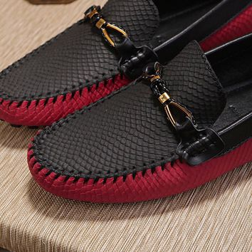 LV Louis Vuitton Men's Vintage Leather Casual Loafer Shoes Black red Best Quality