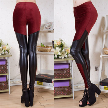 Spring Women Big yards corduroy splicing PU leather fashion sexy thin leg corduroy brand leggings