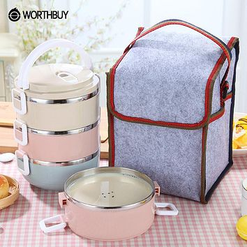 WORTHBUY Portable Macaroon Japanese Bento Box Leak-Proof Stainless Steel Thermal Lunch Boxs Kids Picnic Container For Food